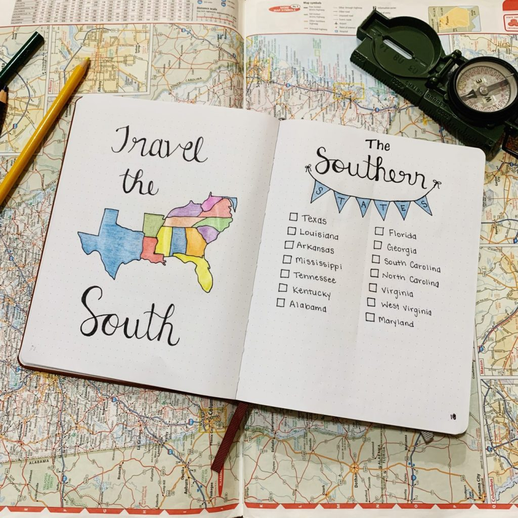 Travel the South spread in my bullet journal.