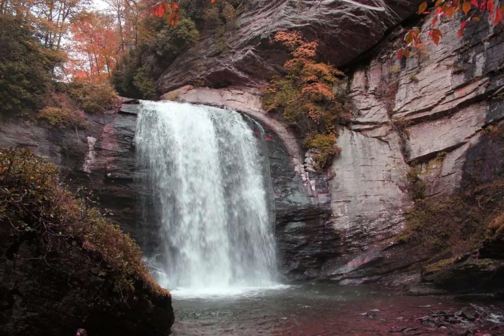 Wheelchair accessible waterfall near Asheville, NC.