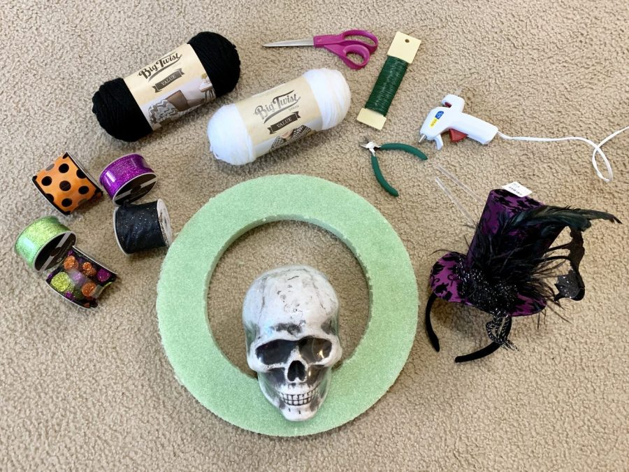 Supplies needed for the DIY Halloween wreath.