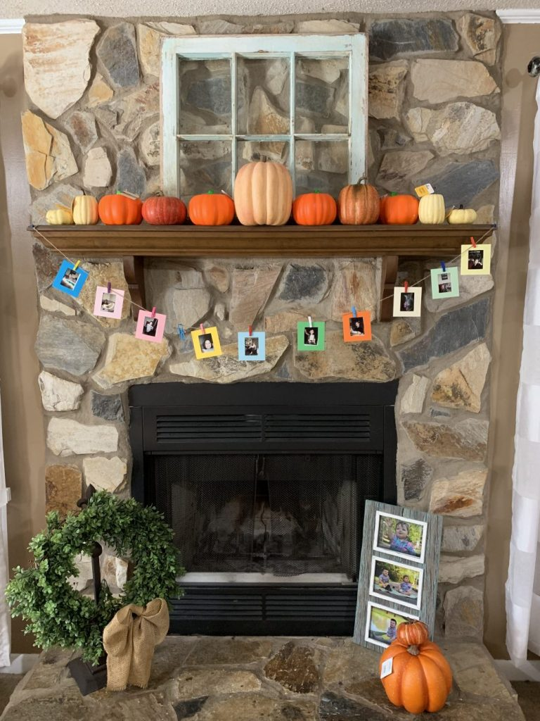 My fireplace before making the easiest DIY farmhouse pumpkins ever!