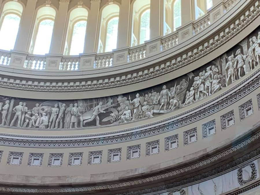 The 'Frieze of America' painting in the United States Capitol Building.