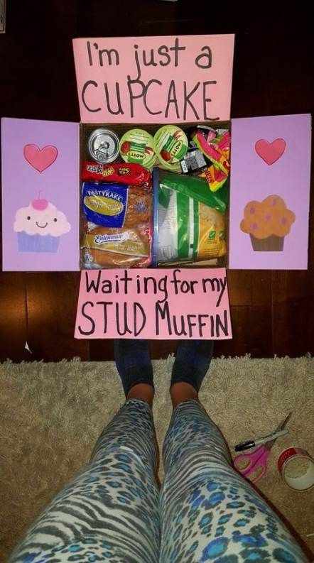 Valentine care package: cupcake looking for stud muffin