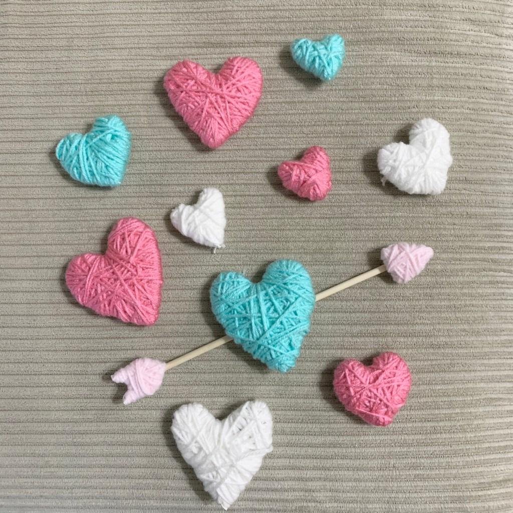 Yarn hearts for Valentine wreath.