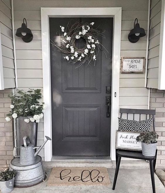 This front stoop looks great with all of it's metal accents.