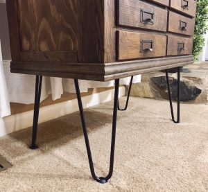 The legs and trim were the finishing touches on our vintage hardware cabinet.
