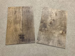 The backs of the DIY Smallwoods Knock-Off prints.