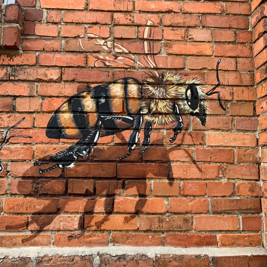 Part of the mural painted on the Burt's Bees headquarters in Durham, NC.