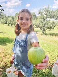 Picking apples near Fort Bragg, North Carolina.