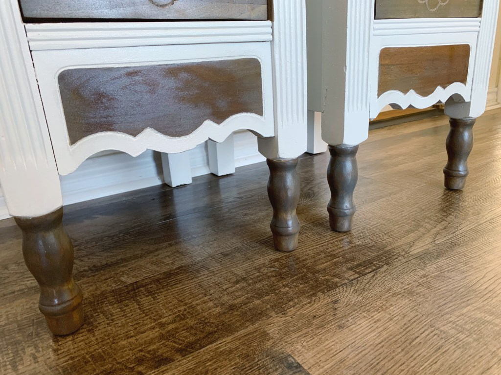 The wood details on the farmhouse nightstands.