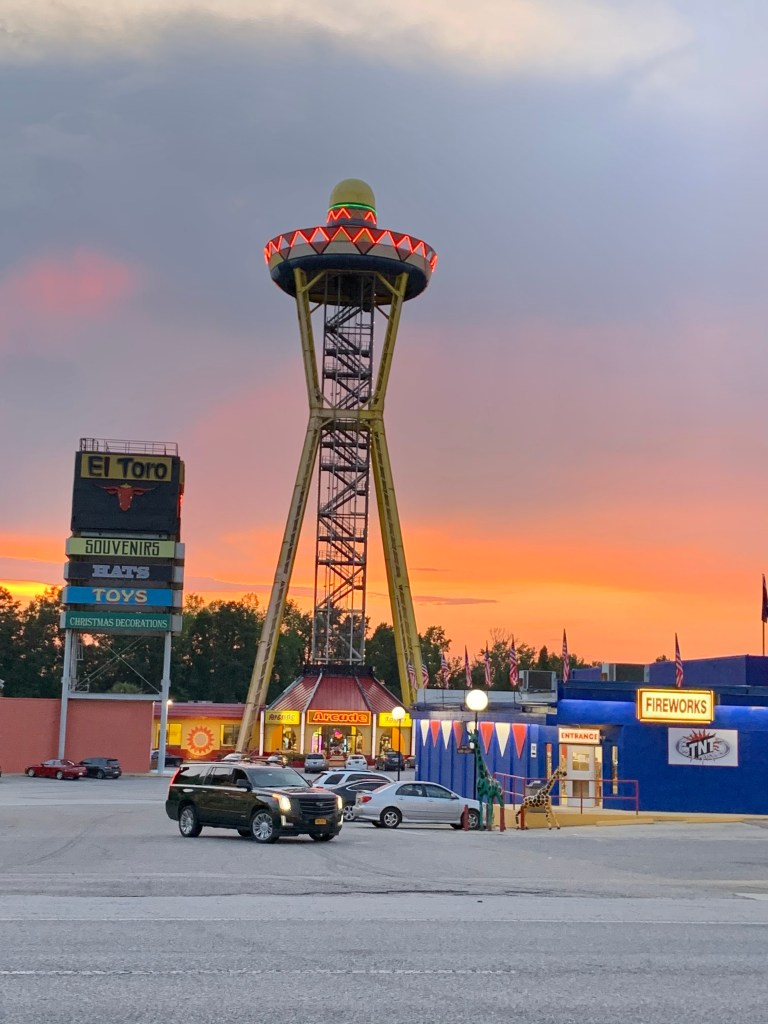 The sombrero tower at South of the Border in South Carolina.