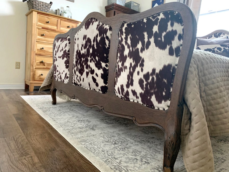 The finished footboard on our refurbished antique bed.