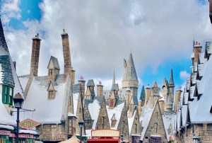 The skyline of Hogsmeade village at Islands of Adventure theme park in Orlando.