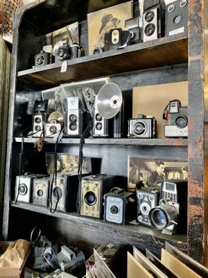 Vintage cameras for sale at the Round Top Antique Show.