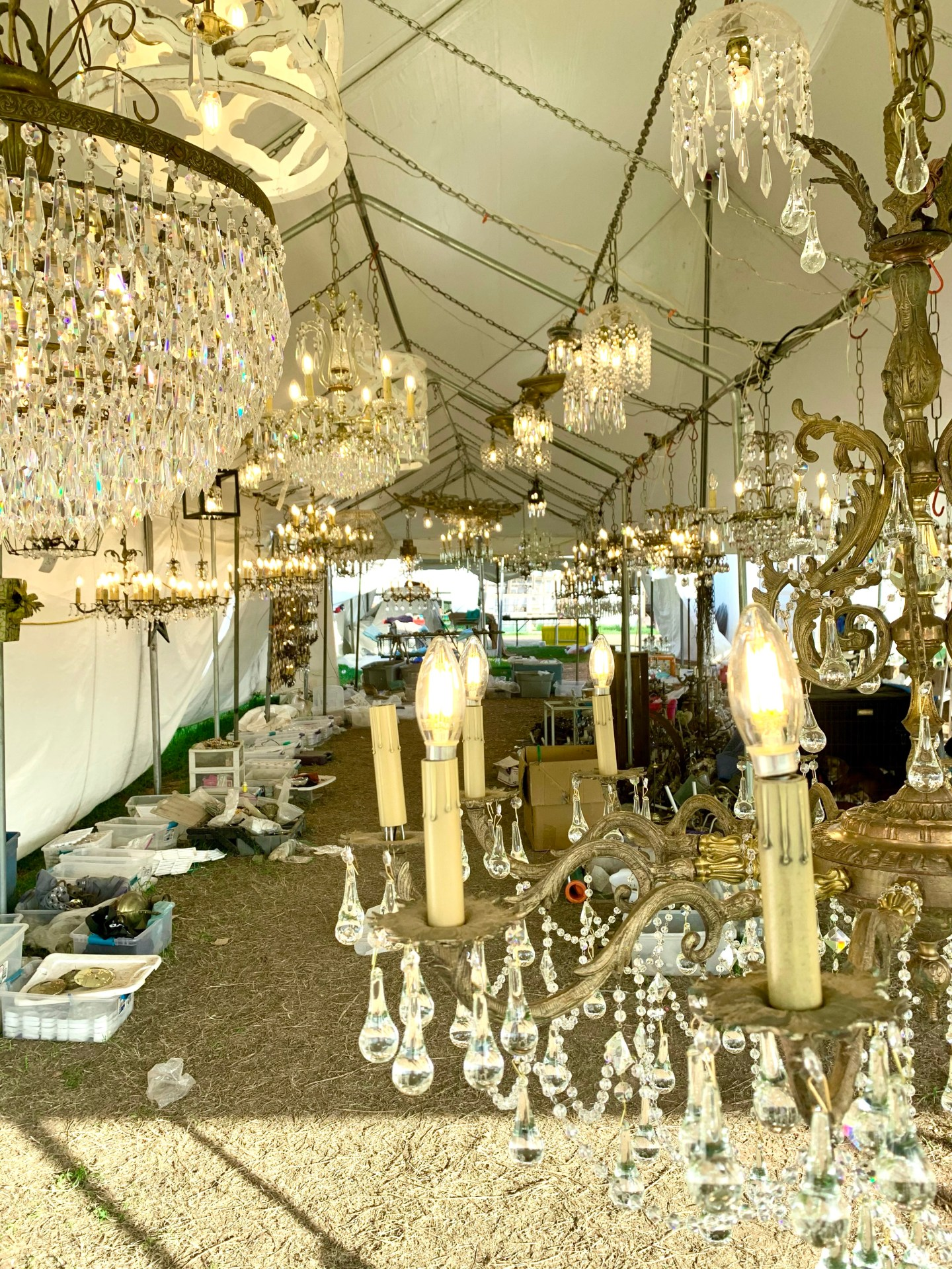 Handmade chandeliers for sale at the flea market.