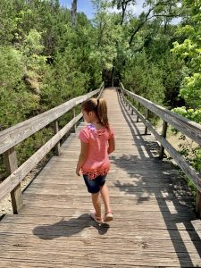 On the board walk during the hike to a Texas waterfall.