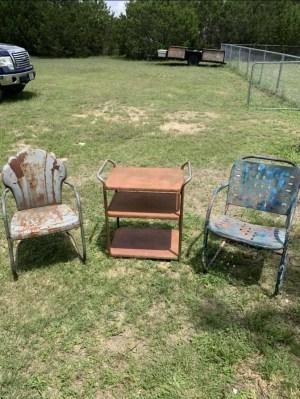Before we refurbished these vintage metal chairs.