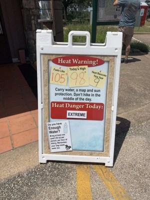 Heat advisory warning at Pedernales Falls State Park.