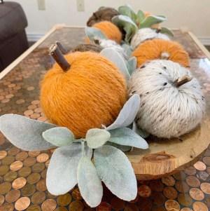 DIY yarn wrapped pumpkins: Dollar Tree Craft