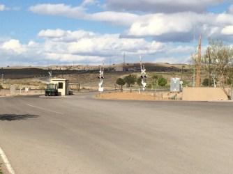 Rail crossing at park entrance w/guard shack