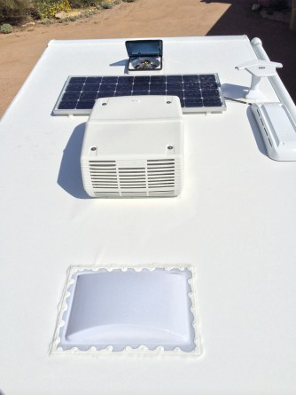 Part of the roof with solar panel