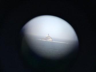 Tillamook Rock Lighthouse through binoculars