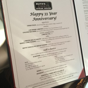 Ruth's Chris Menu
