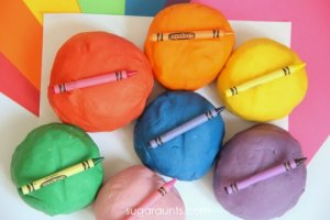 homemade playdough colored with crayons