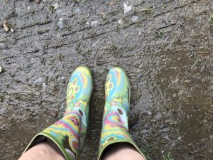 colorful muddy boots