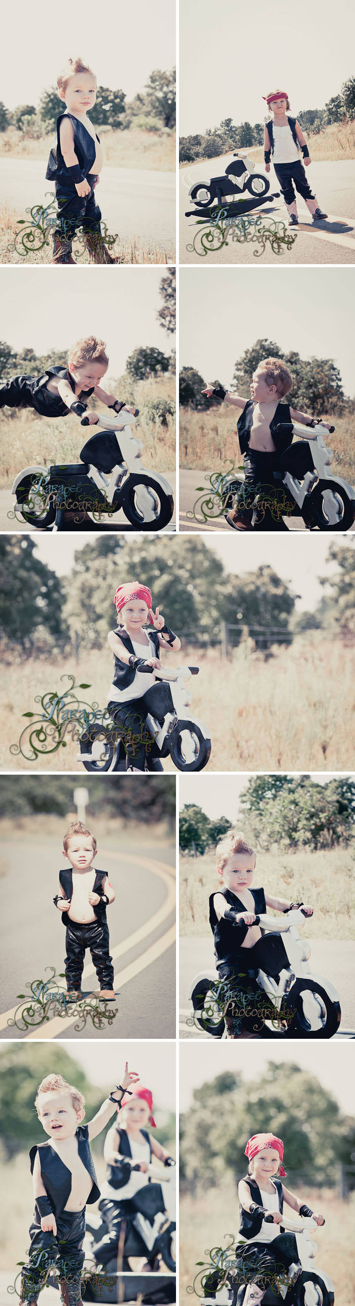 A basic guide on how to put together a biker themed children's photo shoot with costume, prop, and location ideas and tutorials