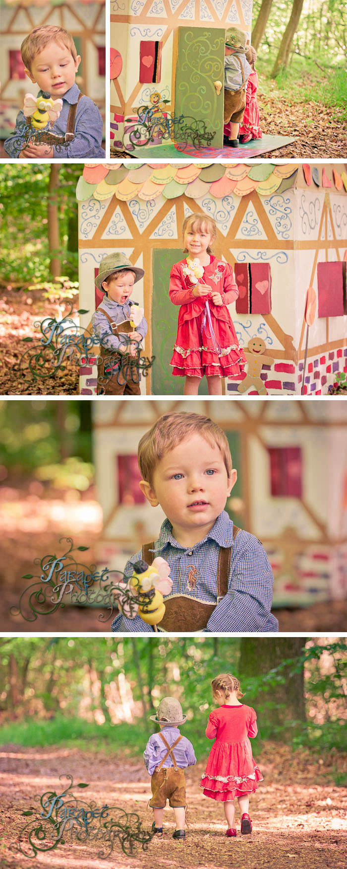 A basic guide on how to do a Hansel and Gretel themed children's photo shoot with tutorials, prop and location ideas