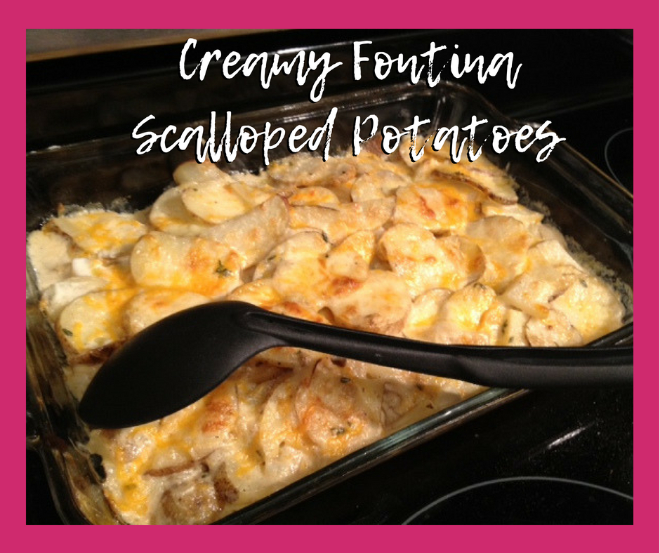 Creamy Fontina Scalloped Potatoes | easy, cheesy potato side dish, vegetable side dish ideas | finding time for cooking blog