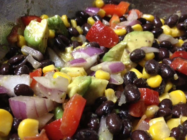 corn & black bean salsa with red peppers, red onion, & avocado