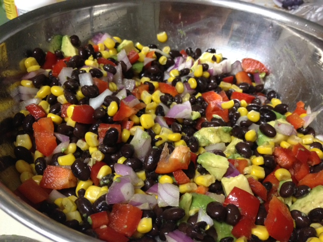 corn & black bean salsa stirred together