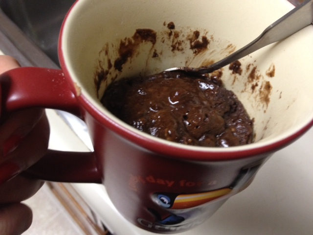 dark chocolate lava mug cake, an easy dessert for one