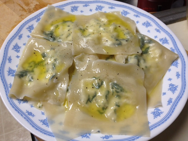 Homemade Wonton Ravioli stuffed with chicken and ricotta