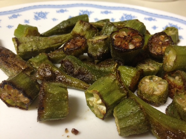Roasted okra...healthier than fried and tastes just as good | finding time for cooking blog
