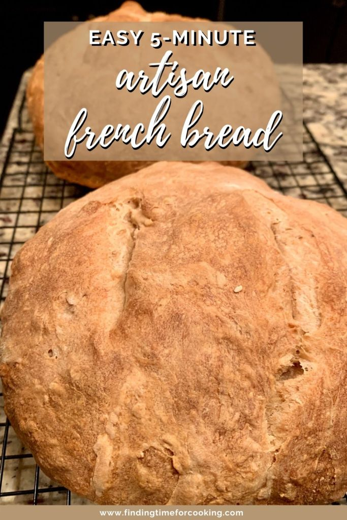 5-Minute Artisan French Bread | Super easy homemade bread recipe, only a few minutes of hands-on time and then it's just rising and baking. You can make it plain or put add-in ingredients (spices, herbs, etc.). Make one loaf and put the rest of the dough in the fridge for fresh hot bread every day! #bread #breadrecipe #artisanbread #easybread