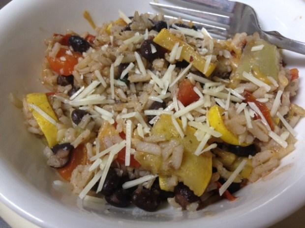 Vegetable, Black Bean, & Brown Rice Skillet | finding time for cooking blog