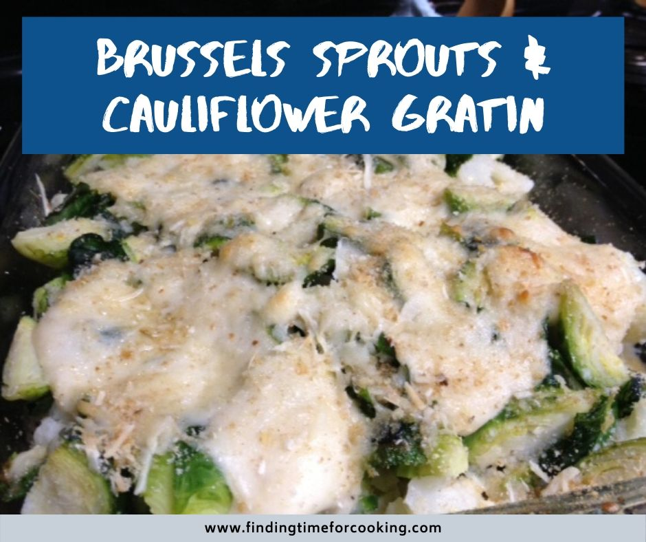 Brussels Sprouts & Cauliflower Gratin | This healthier side dish is still cheesy, carb-y goodness. A brussels sprout gratin will make a believer of sprout haters! Easy holiday side dish. #sidedish #holidayrecipes