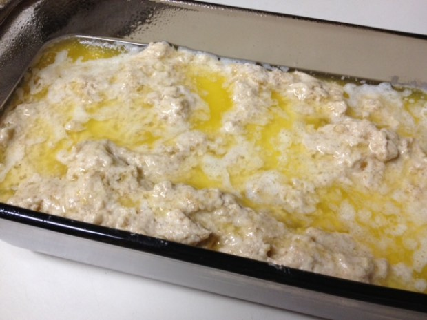 beer bread dry dough pan butter