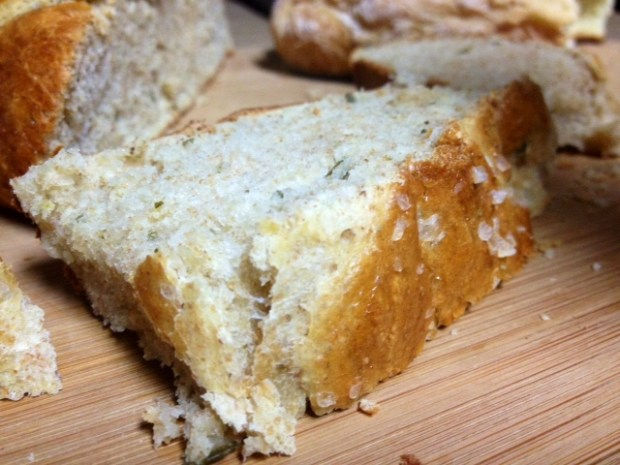 rosemary olive oil bread finished closeup