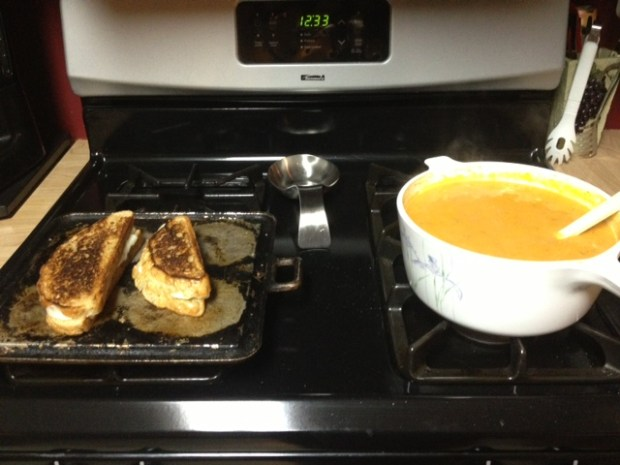 sweet potato soup grilled cheese finished