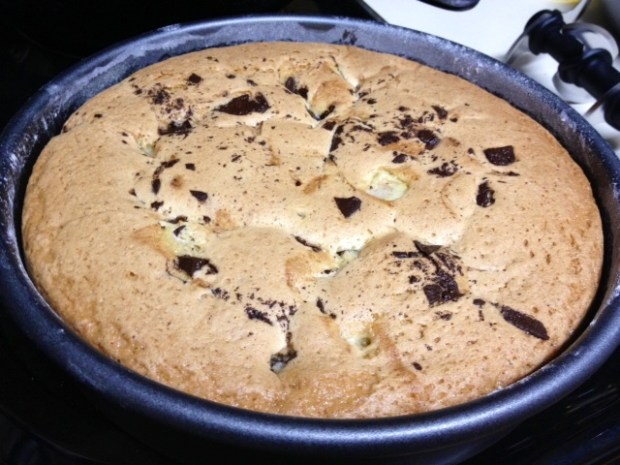 pear bittersweet chocolate cake baked