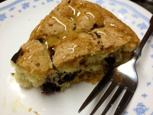 pear bittersweet chocolate cake slice honey