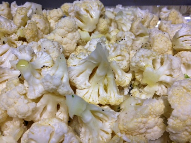 cauliflower aged cheddar soup cauliflower florets closeup