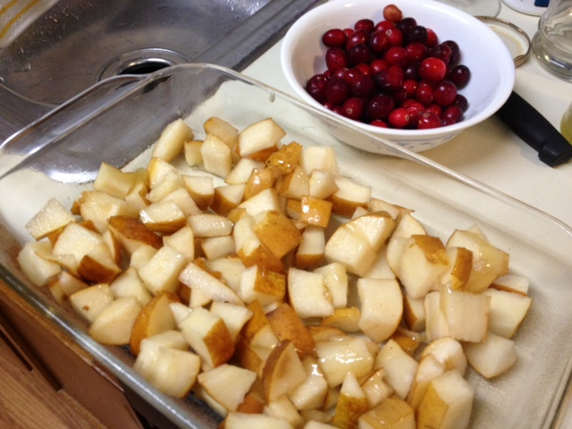 chopped up pears with the cranberries