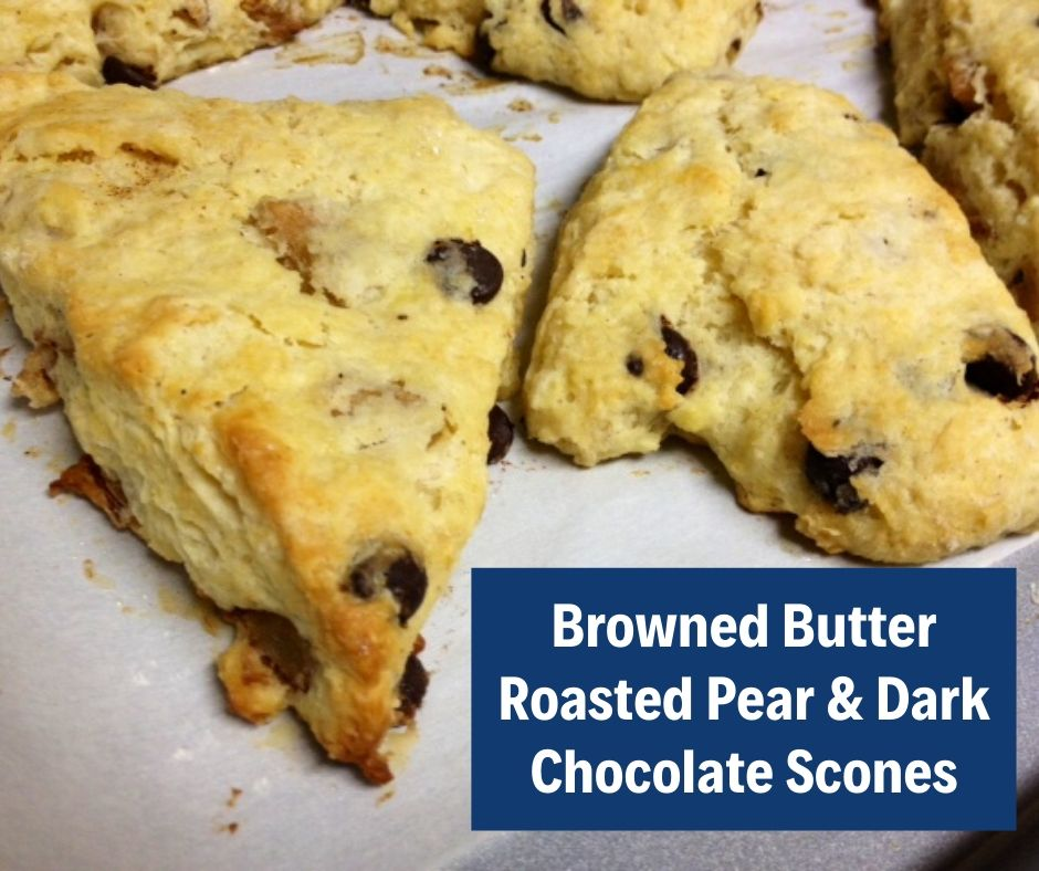 Brown Butter, Roasted Pear & Dark Chocolate Scones | Delicious and unique brunch recipe, but not difficult to make  Combined flavors of browned butter, roasted pears, and dark chocolate are perfect! Scone recipes, breakfast recipes, #brunch #breakfast #scones