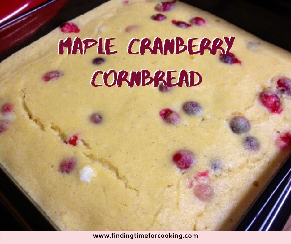 Maple Cranberry Cornbread | This delicious and moist cornbread is an interesting twist on a classic. #cornbread #cranberries #maplesyrup