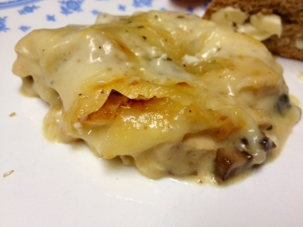rosemary chicken lasagna finished closeup