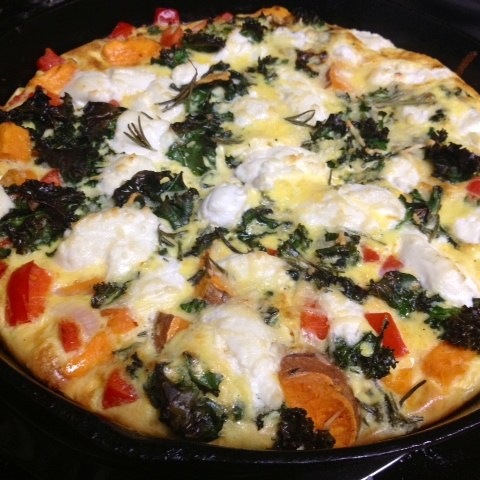 Sweet Potato, Pepper, & Kale Frittata With Goat Cheese